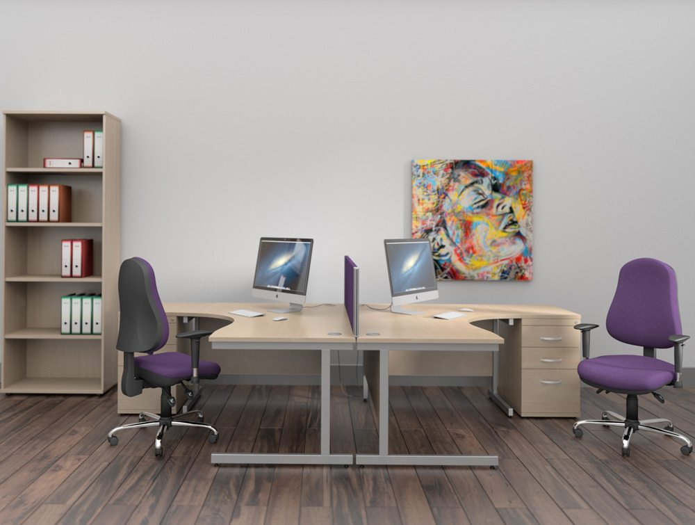 Ashford Corner Desks with Bookcase in Light Beech and Purple Chairs