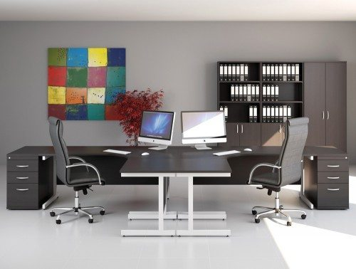 Ashford Executive L Shaped Desks with Leather Chairs