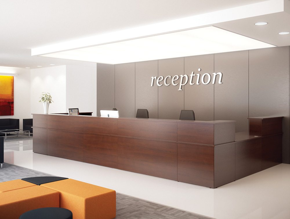 Ashford Large Reception Modular Counter in Dark Wood