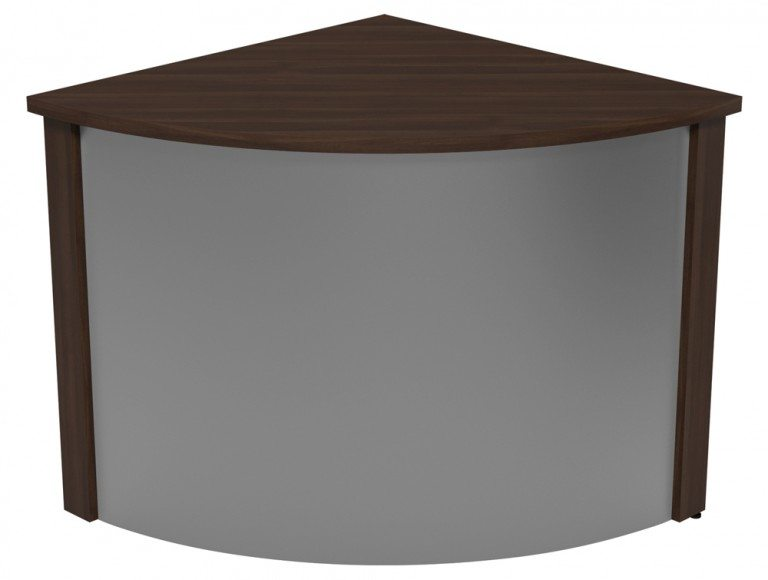 Ashford Modular Reception Corner Metal Desk DW-SLV in Dark Walnut