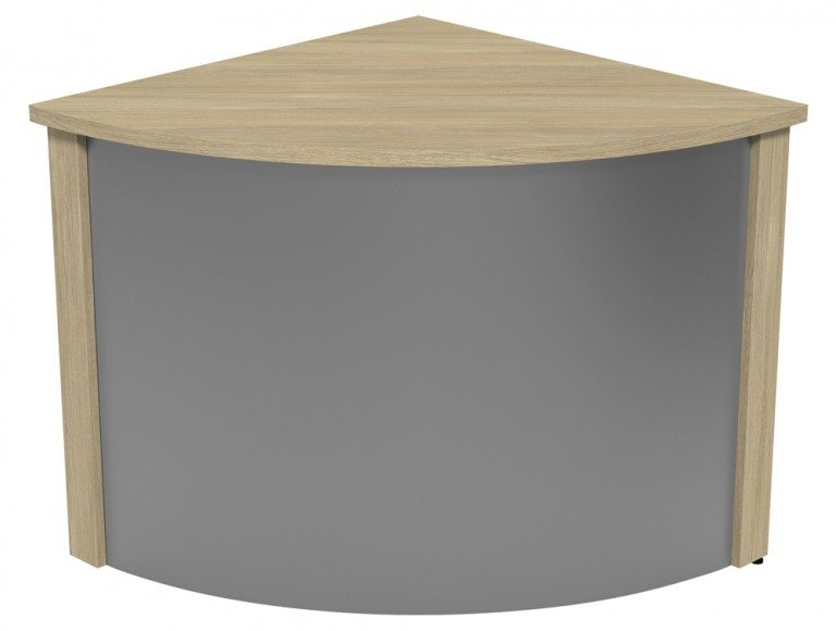 Ashford Modular Reception Corner Metal Desk UO-SLV in Urban Oak