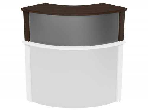 Ashford Modular Reception Corner Metal Riser DW-SLV in Dark Walnut