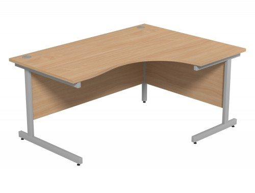 Ashford Budget Metal Leg Crescent Desk SLV-BE-R-1612 in Beech