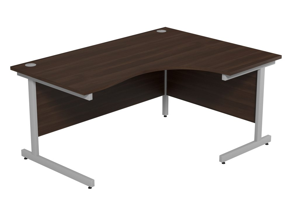 Ashford Budget Metal Leg Crescent Desk SLV-DW-R-1612 in Dark Walnut