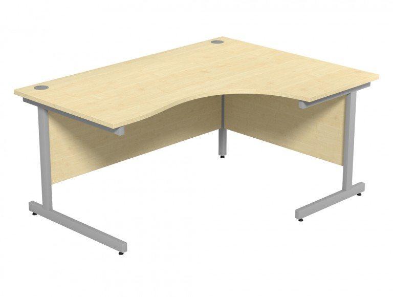 Ashford Budget Metal Leg Crescent Desk SLV-MP-R-1612 in Maple