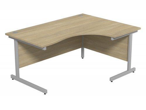 Ashford Budget Metal Leg Crescent Desk SLV-UO-R-1612 in Urban Oak