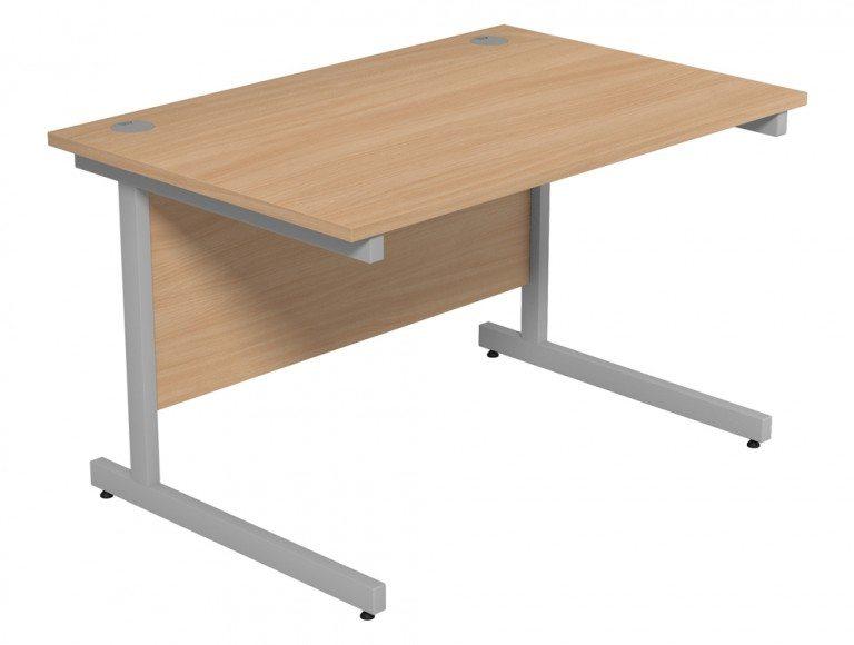 Ashford Budget Metal Leg Straight Desk SLV-BE-1280 in Beech