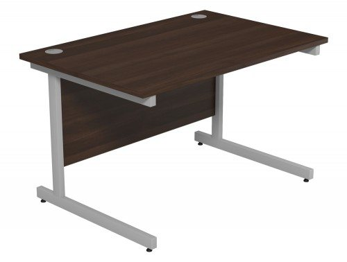 Ashford Budget Metal Leg Straight Desk SLV-DW-1280 in Dark Walnut