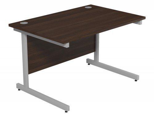 Ashford Budget Metal Leg Straight Desk SLV-DW-1280 in Dark Walnut