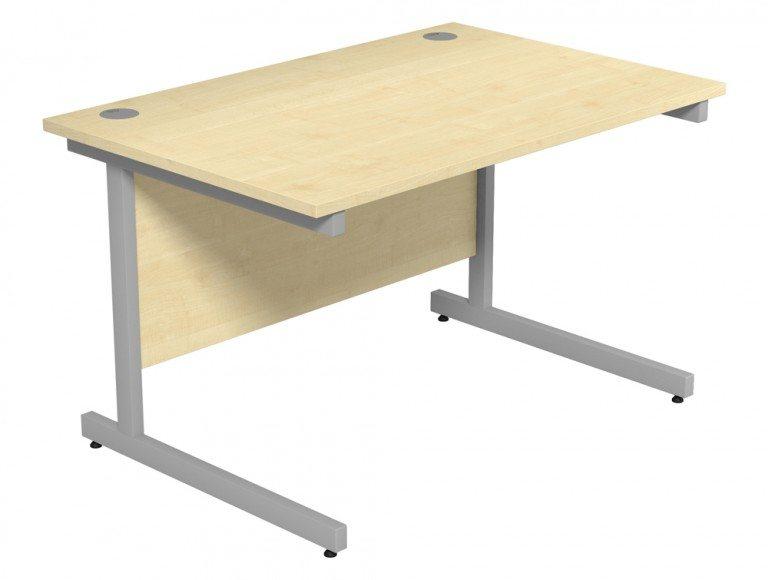 Ashford Budget Metal Leg Straight Desk SLV-MP-1280 in Maple