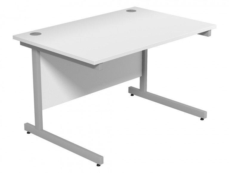 Ashford Budget Metal Leg Straight Desk SLV-WH-1280 in White