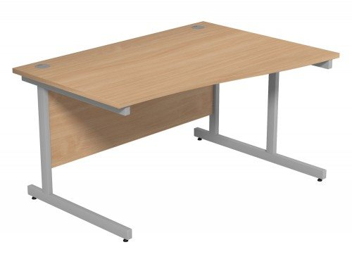 Ashford Budget Metal Leg Wave Desk SLV-BE-R-1410 in Beech