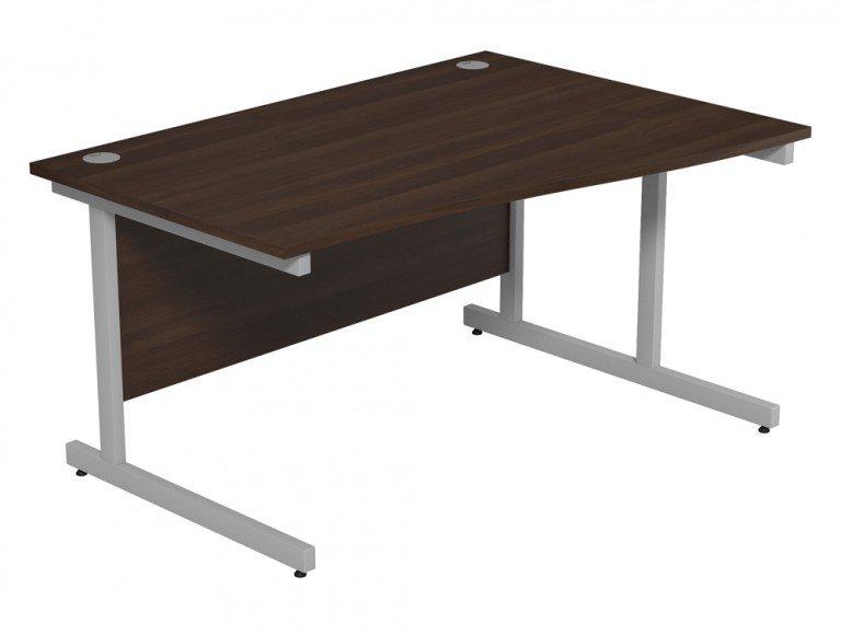 Ashford Budget Metal Leg Wave Desk SLV-DW-R-1410 in Dark Walnut