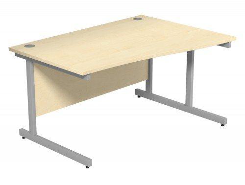 Ashford Budget Metal Leg Wave Desk SLV-PB-R-1410 in Polar Birch