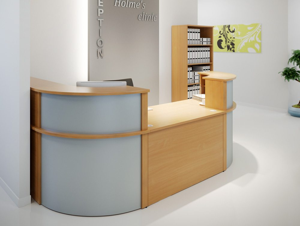 Ashford Reception Corner Metal Desk In White Radius Office