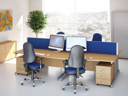 Ashford Wave Beech Desks with Blue Chairs and Pedestals
