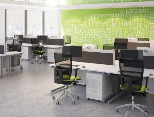 Ashford White Desks in Call Centre and Mesh Chairs