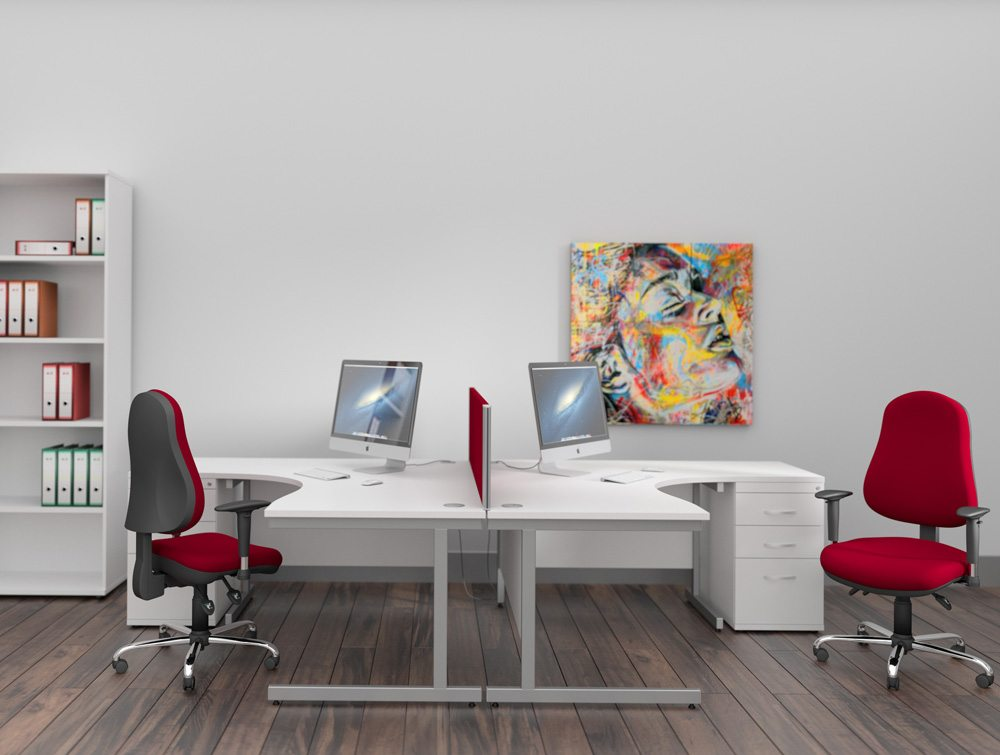 Ashford White Desks with Red Task Seating and White Storage