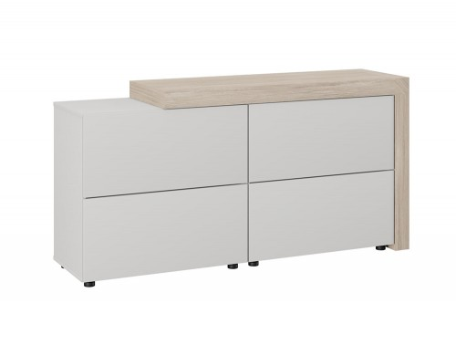 Auttica Executive 3 Drawers Sideboard Storage Cabinet Madrid Oak Grey