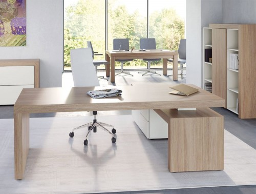 Auttica Executive Desk with Credenza Unit and 3-Level Part-Closed Storage Sideboard Storage Cabinet and 4- Legged Meeting Room Table in Madrid Oak and White