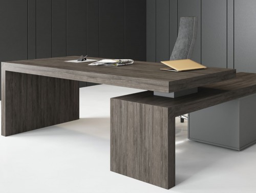Auttica Executive Desk with Left Hand Return in Dublin Oak and Grey Finish with Office Chair