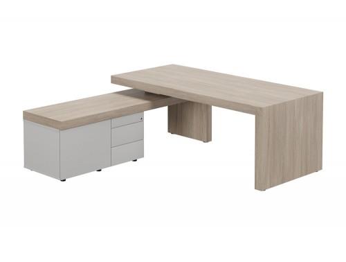 Auttica Executive Desk with Return Left Hand Madrid Oak Grey