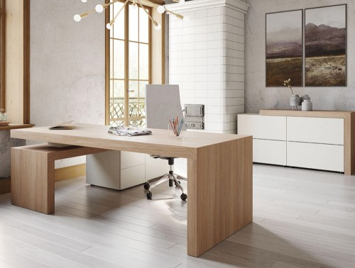 Auttica Executive Office Desk with Right Hand Return and 3-Drawer Sideboard Storage Cabinet in Madrid Oak and White Finish