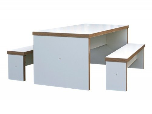 Block White Canteen Table and Benches Radius Office Furniture