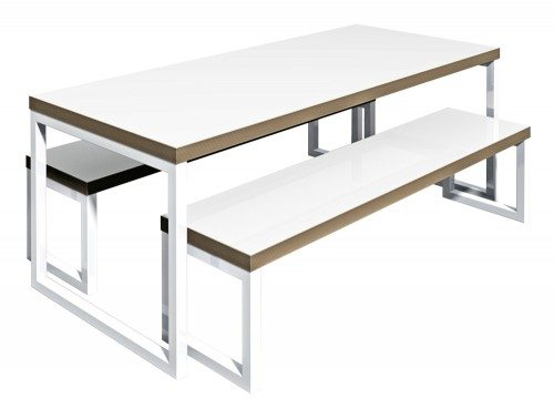 Block Steel White Canteen Table and Benches Glossy finish