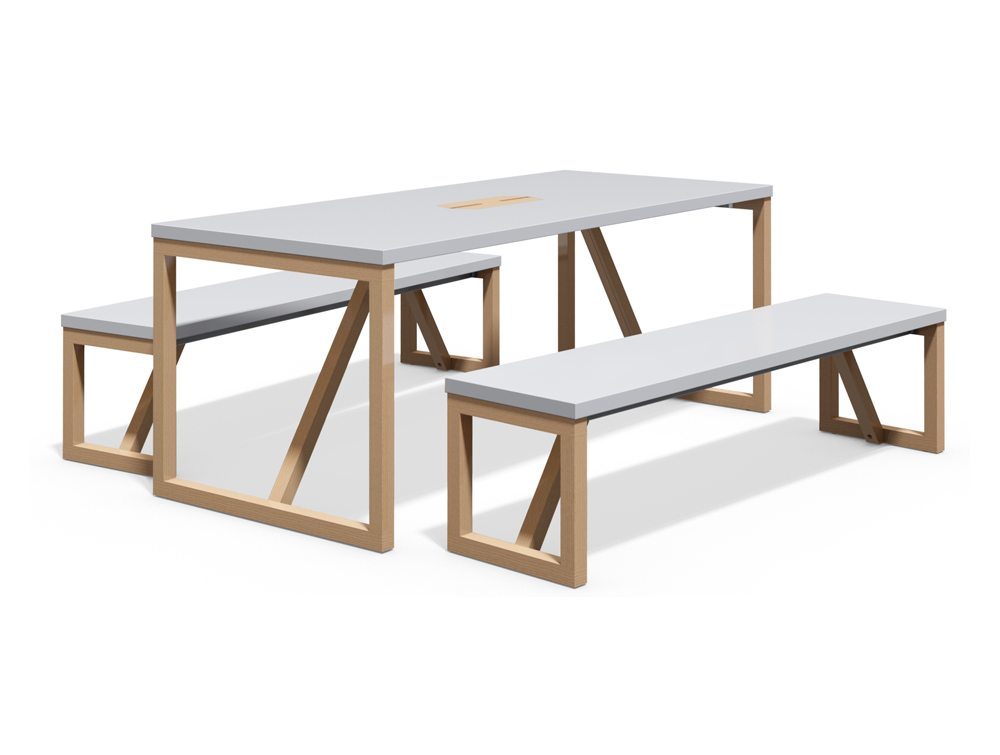 BLK WD Block Wood Canteen Table and Benches