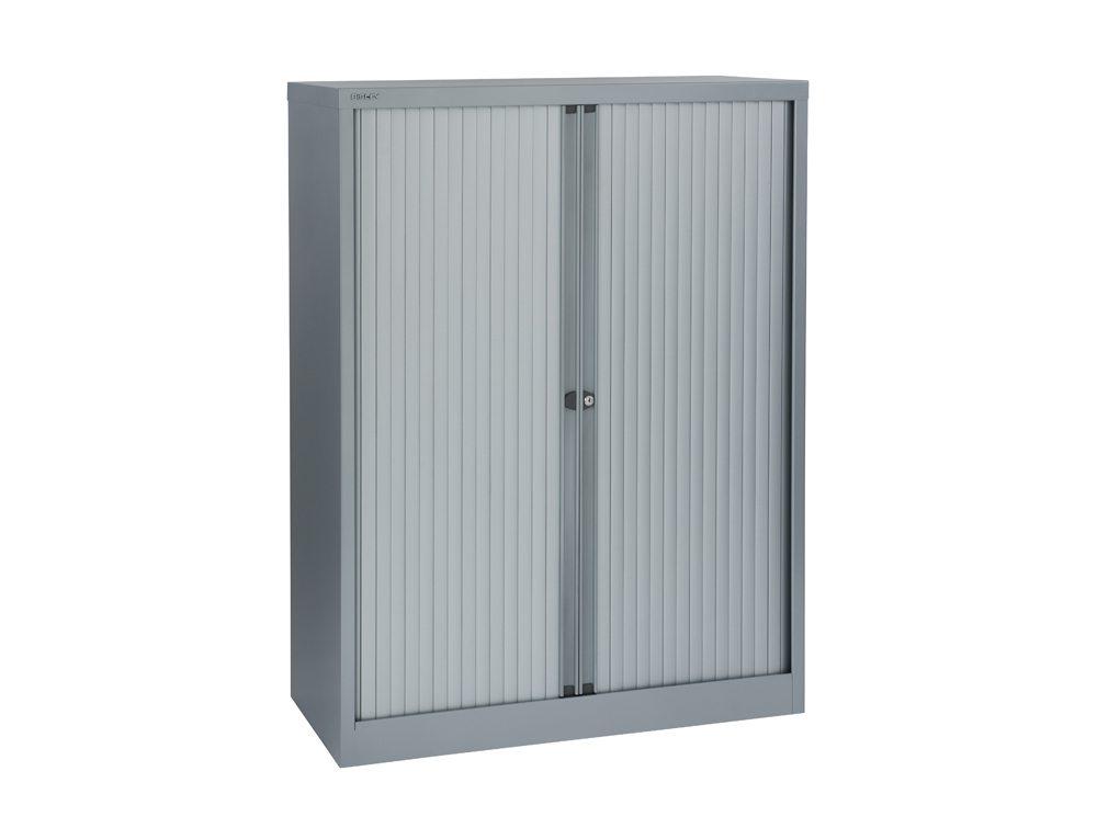 Bisley Tambour Cupboard Steel Side-Opening 1320mm High - Grey