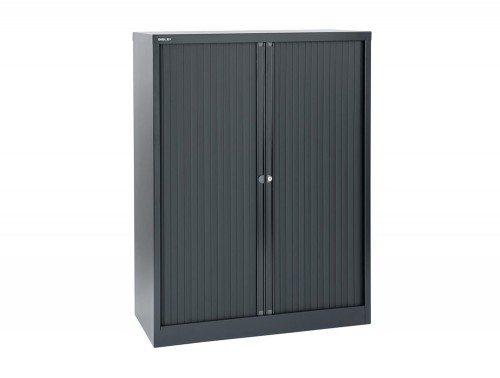 Bisley Tambour Cupboard Steel Side-opening 1320mm high in Black