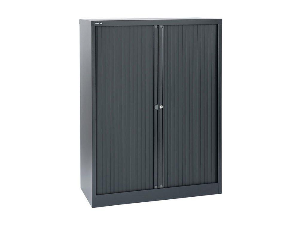 Bisley Tambour Cupboard Steel Side-Opening 1320mm High - Black