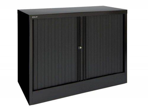 Bisley Tambour Cupboard Steel Side-opening 1015mm high in Black