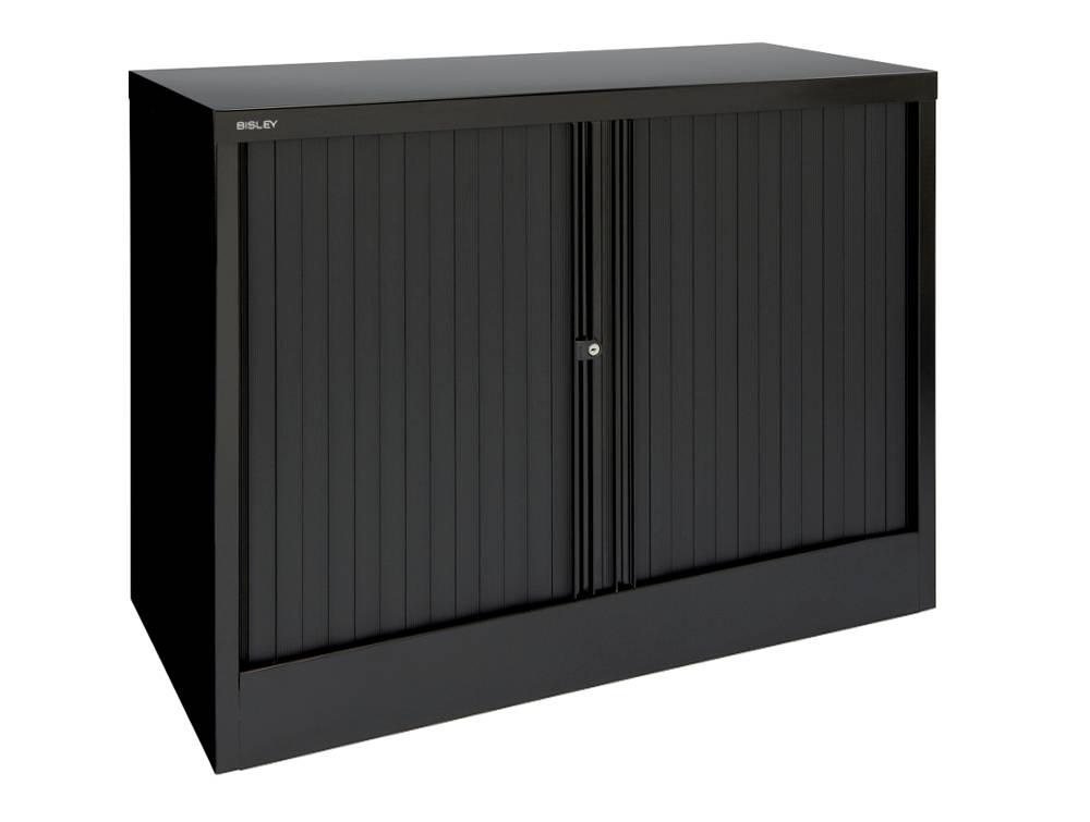 Bisley Tambour Cupboard Steel Side-Opening 1015mm High - Black
