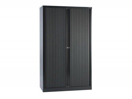 Bisley Tambour Cupboard Steel Side-opening 1650mm high in Black