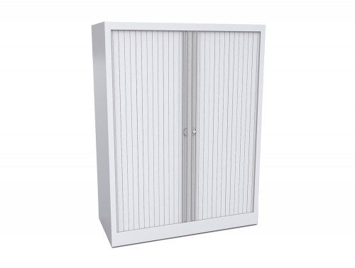 Bisley Tambour Cupboard Steel Side-opening 1320mm high in White