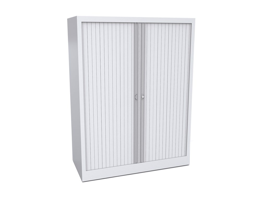 Bisley Tambour Cupboard Steel Side-Opening 1320mm High - White