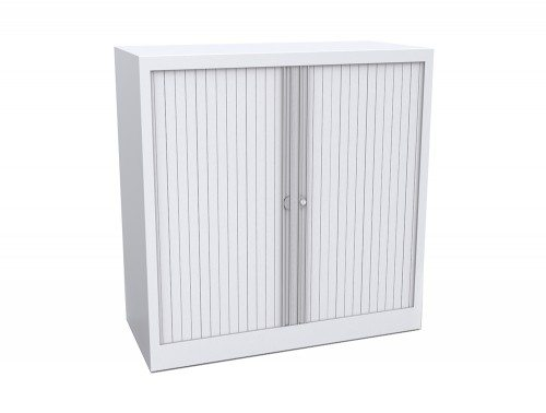 Bisley Tambour Cupboard Steel Side-opening 1015mm high in White