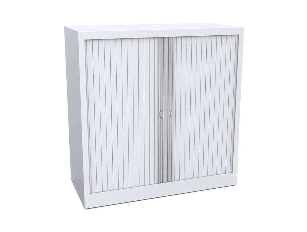 Bisley Tambour Cupboard Steel Side-Opening 1015mm High - White