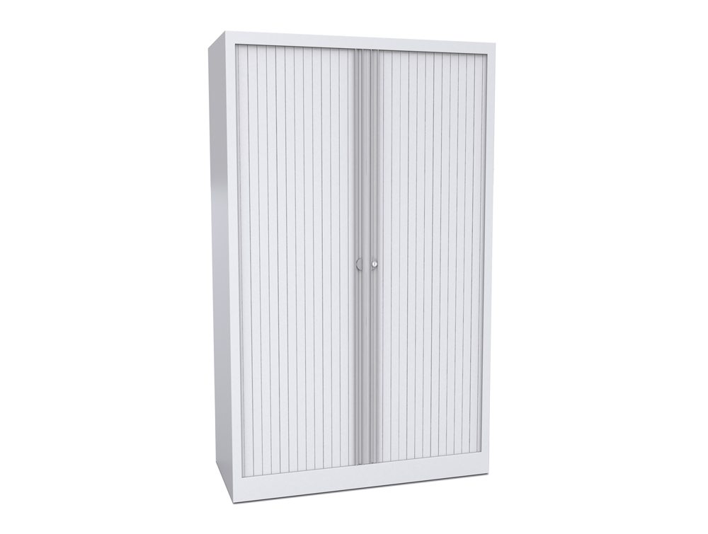 Bisley Tambour Cupboard Steel Side-Opening 1650mm High - White