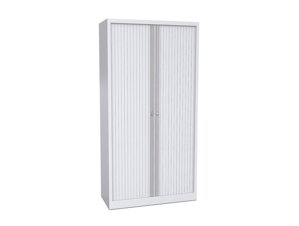 Bisley Tambour Cupboard Steel Side-Opening 1970mm High - White