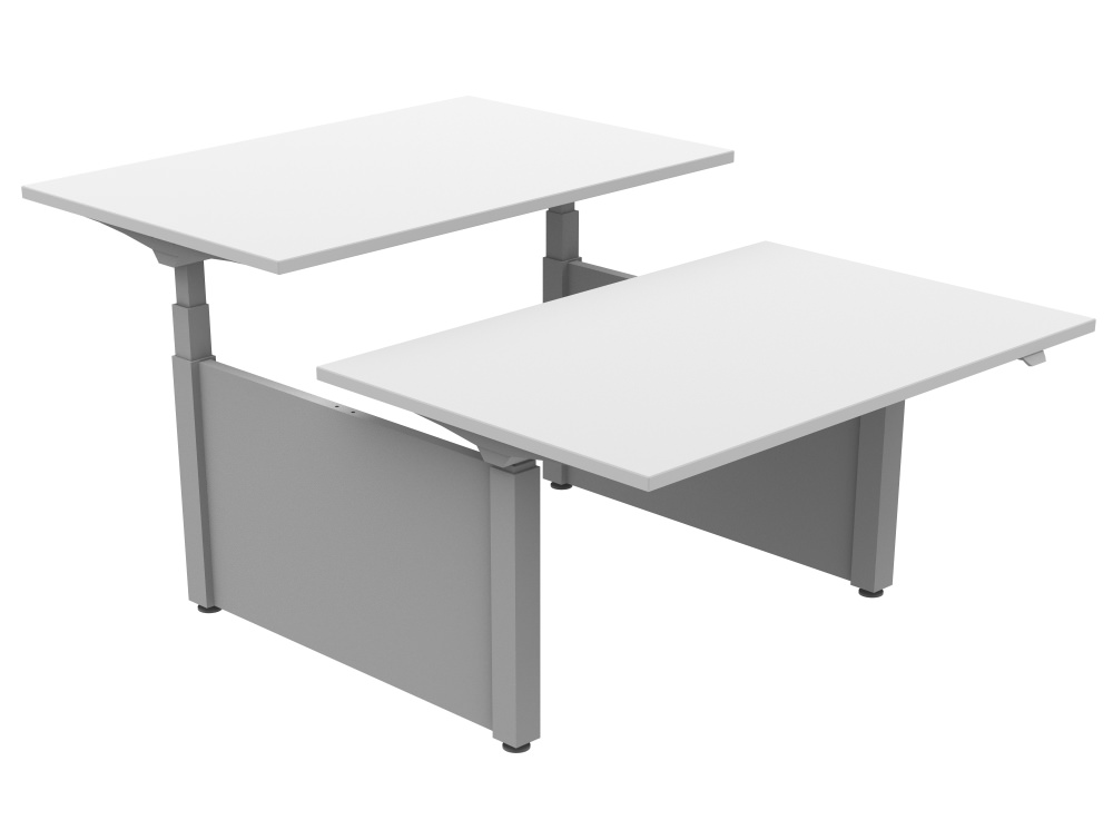 Ergomaster Electric Sit-stand Back-to-back Desk Unit in White and Silver 1200mm x 800mm