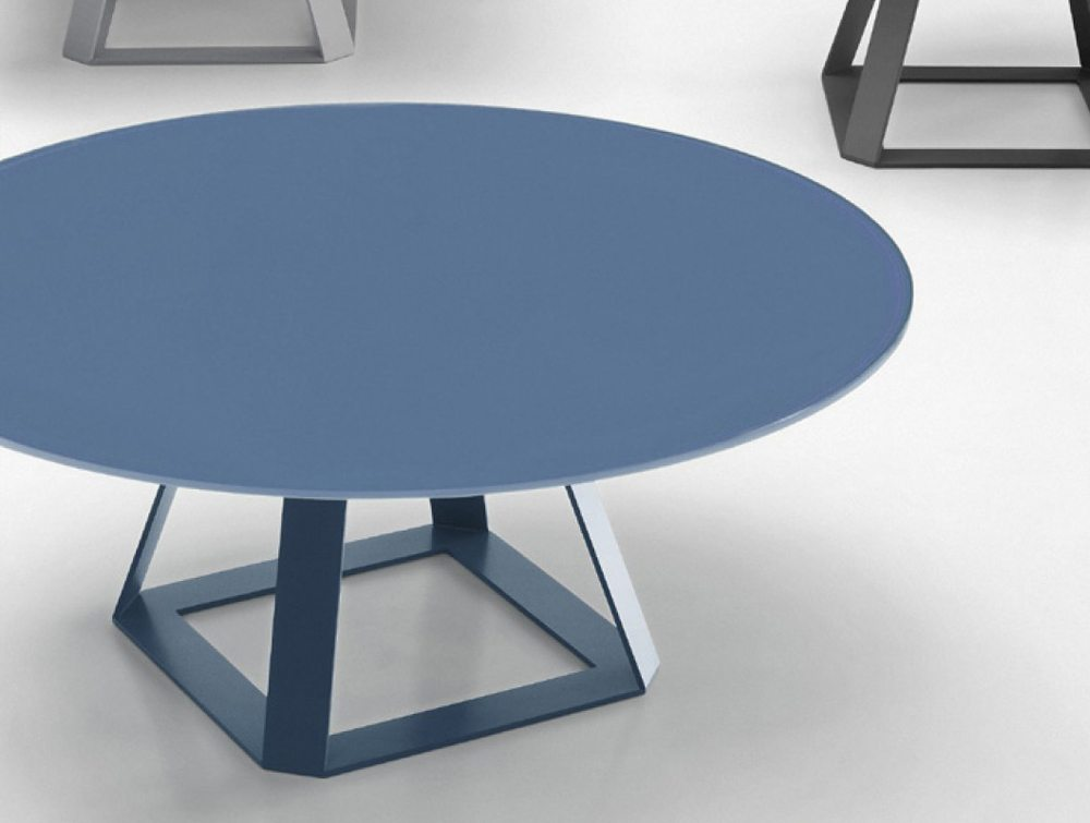 Balma H2 Round Coffee Table with Metal Base in Blue