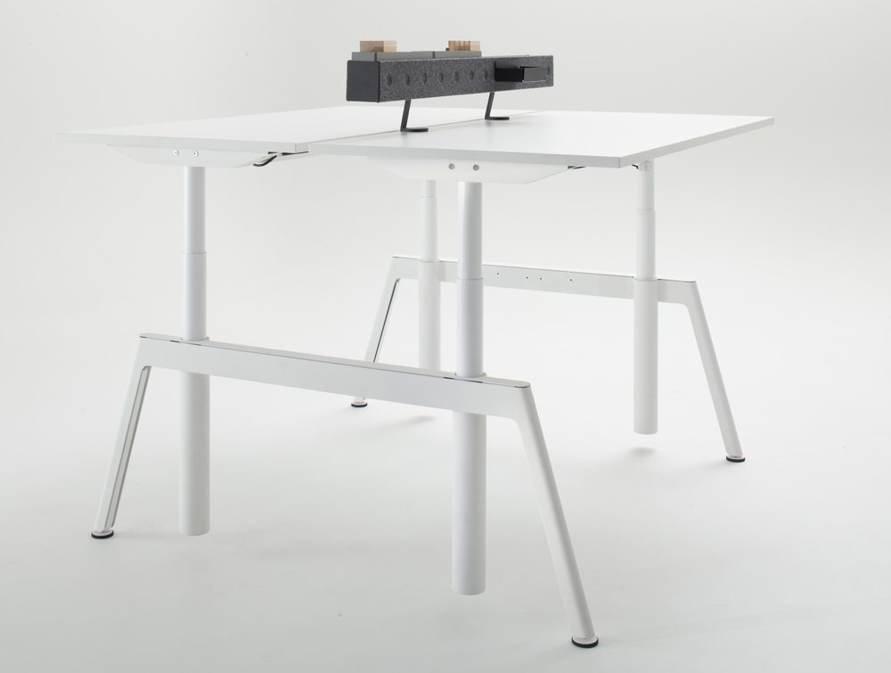 Balma Plus Electric Sit Stand Desk in White with Accessories