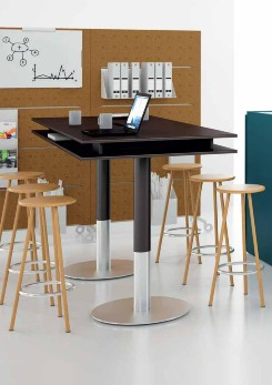 Balma Plus Hightop Meeting Table with Cylinder Base