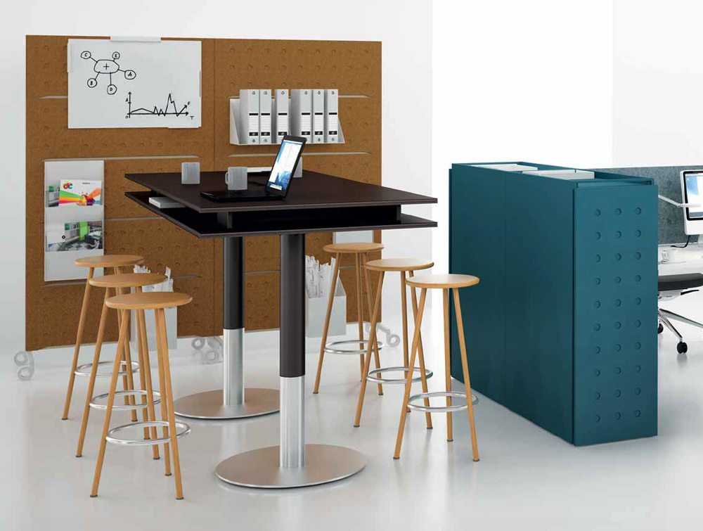 Balma Plus Office High Top Breakout Table with Stool Chairs
