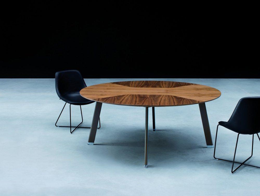 Balma Simplic Walnut Brown Round Meeting Table with Metal Legs