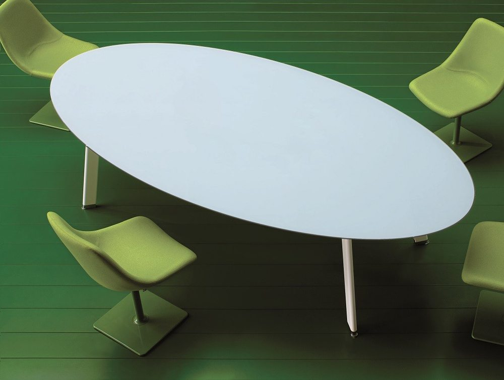 Balma Simplic White Modular Meeting Table with Metal Legs and Green Tub Chairs