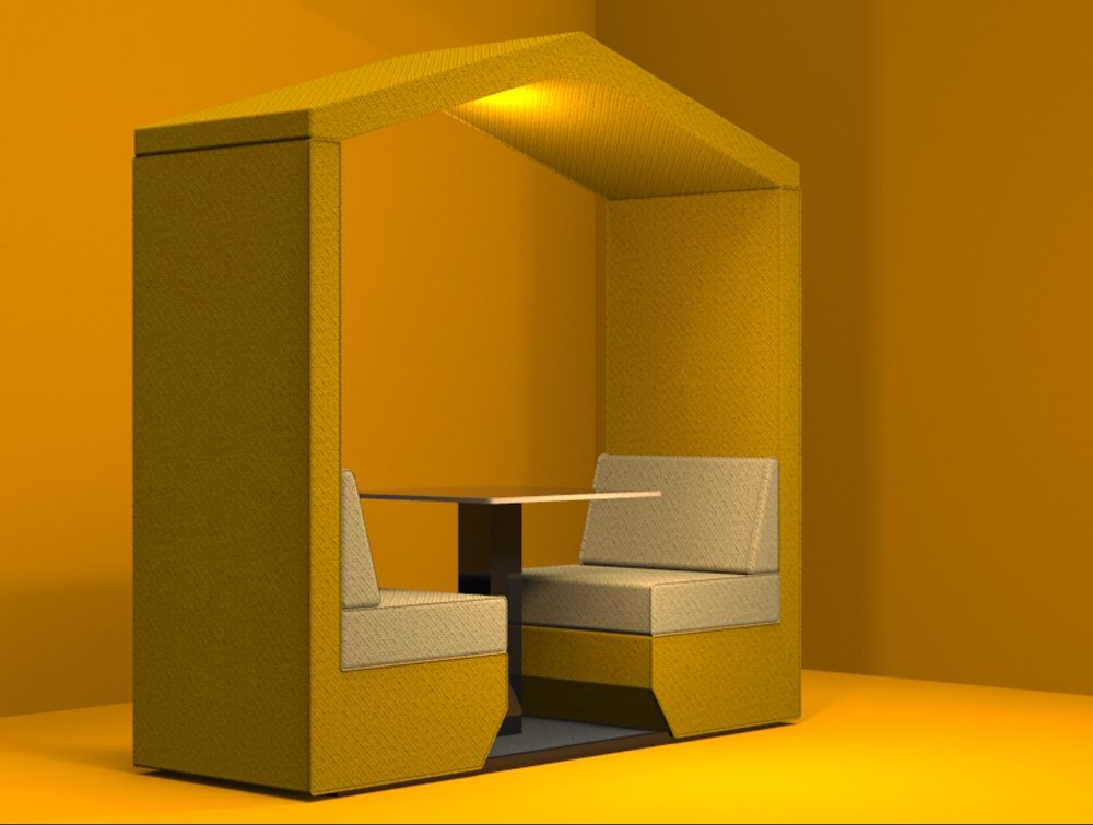 Bea 2 seater meeting pod golden colour